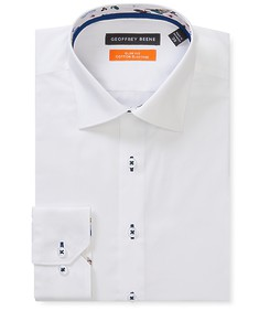 Slim Fit Shirt White Contrast Stitch