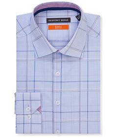 Slim Fit Shirt Blue Large Glen Check
