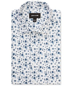 Slim Fit Shirt Indigo Flowers