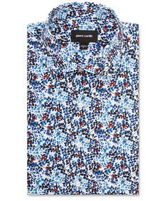 Slim Fit Shirt Indigo Red Flowers