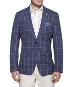 Casual Blazer Navy Window Check