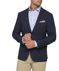Casual Jacket Navy Slub Yarn