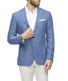 Casual Blazer Blue Dobby Textured