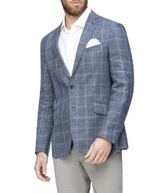 Casual Blazer Navy Large Check