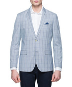 Casual Jacket Sky Blue Window Check