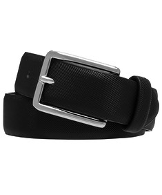 Mens Embossed Belt Black with Silver Buckle