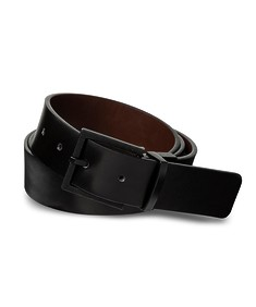 Belt Black Smooth Texture Etched Buckle