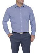 Mens Classic Fit Shirt Navy Mini Check