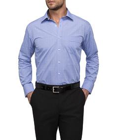 Mens Classic Fit Shirt Blue Square Check