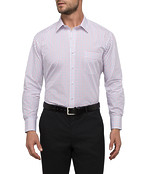 Mens Classic Fit Shirt Red and Navy Line Check