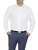 Mens Classic Fit Shirt White Self Stripe