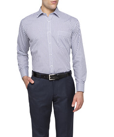 Mens Classic Fit Shirt Navy Window Check
