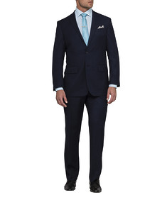 Men's Classic Fit Nested Suit Navy Mini Check