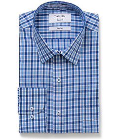 Classic Relaxed Fit Shirt Blue Large Check