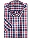 Classic Relaxed Fit Short Sleeve Shirt Maroon Check