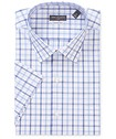 Classic Relaxed Fit Short Sleeve Shirt Blue Tone Check