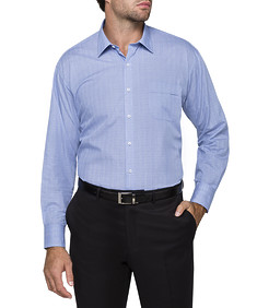 Mens Classic Fit Shirt Navy Blue Graph Check