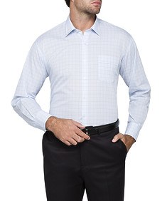 Mens Classic Fit Shirt Blue Window Check