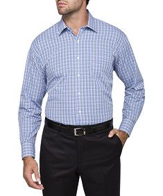Mens Classic Fit Shirt Black and Blue Gingham Check