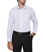 Mens Classic Fit Shirts White with Blues Window Pane