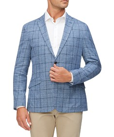 Casual Blazer Soft Blue Window Pane Check
