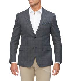 Casual Blazer Grey Window Pane Check