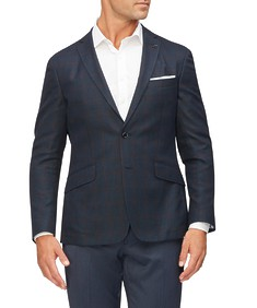 Casual Blazer Navy with Red Window Pane Check