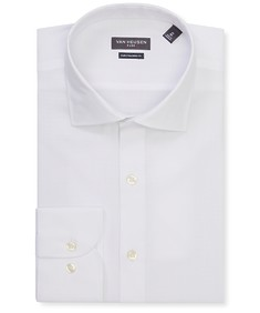 Euro Tailored Fit Shirt White Subtle Self Spot