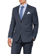 Mens European Fit Suit Jacket Charcoal Window Pane