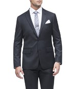 Euro Tailored Fit Suit Jacket Charcoal Dobby