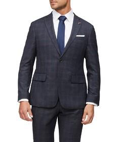 Euro Tailored Fit Suit Jacket Navy Diamond Texture