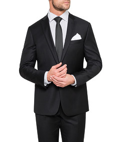 Euro Tailored Fit Suit Jacket Black Textured