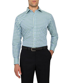 Mens Euro Fit Shirt Green Check