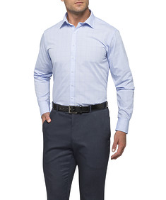 Mens Euro Fit Shirt Blue Large Window Pane