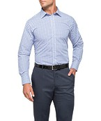 Mens Euro Fit Shirt Mauve and Blue Cross Check