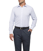 Mens Euro Fit Shirt White with Blue Diamond Pattern