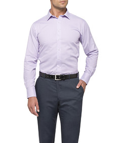 Mens Euro Fit Shirt Pink Purple Check