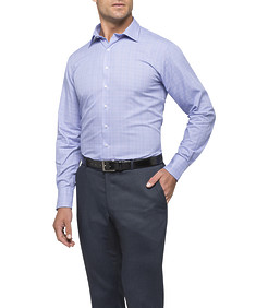 Mens Euro Fit Shirt Blue with Pink Window Pane