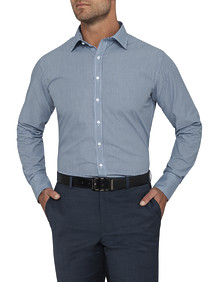 Mens Euro Fit Shirt Navy Small Check