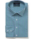 Euro Tailored Fit Shirt Green Navy Check
