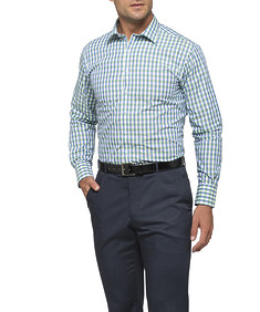 Mens Euro Fit Shirt Green Large Gingham Check