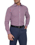 Mens Euro Fit Shirt Red and Navy Check
