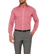 Mens Euro Fit Shirt Red Dobby Check