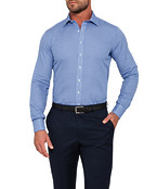 Mens Euro Fit Shirt Royal Blue Dobby with French Cuff