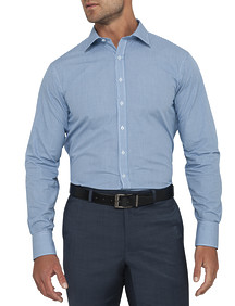Mens Euro Fit Shirt Aqua Navy Check