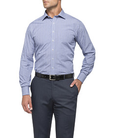 Mens Euro Fit Shirt Navy Tartan Check
