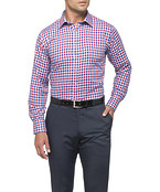 Mens Euro Fit Shirt Navy and Red Check