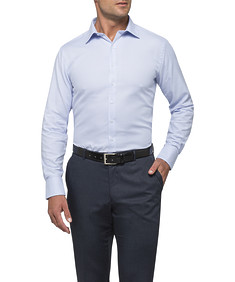 Mens Euro Fit Oxford Shirt Blue