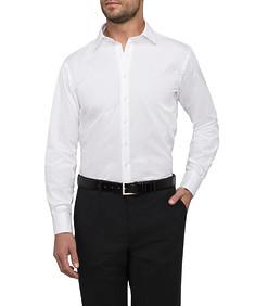 Mens Euro Fit Shirt White Dobby Stripe