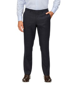 Euro Tailored Fit Suit Pant Navy Window Pane Checks
